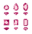 Red gemstones and diamonds shapes vector image