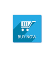 shopping cart Flat Blue Icon with long shadow vector image