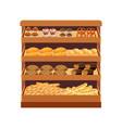 supermarket bread showcase vector image