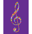treble clef of flowers vector image