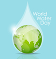 World water day concept with water drop made by vector image