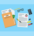 cartoon view of working place witch papers folder vector image