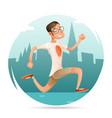 running geek hipster happy sport man character vector image vector image