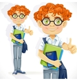 Cute boy in glasses with textbooks vector image vector image