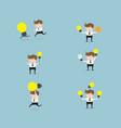 set of businessman with bulb idea vector image