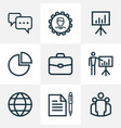 business outline icons set collection of vector image