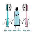 cartoon couple toothbrushes and toothpaste in vector image