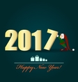 Christmas Elf and a big 2017 letter vector image