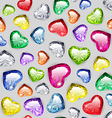 Colorful Gem Hearts Seamless Pattern vector image