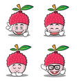 set of lychee cartoon character style collection vector image
