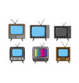 tv television set of icons broadcast video vector image