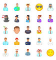people icons set cartoon style vector image