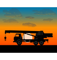 truck crane for lifting of building materials vector image
