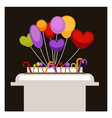 big stand with colorful balloons and sweet vector image