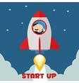 Businessman on a Sky Rocket Cartoon vector image