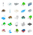 city landscape icons set isometric style vector image