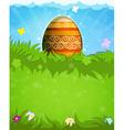 Easter egg with orange pattern vector image