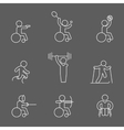 Paralympic disabled outline pictogram icons vector image