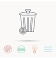Recycle bin icon Trash container sign vector image