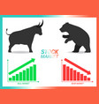 stock market concept bull vs bear are facing and vector image