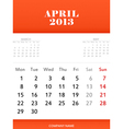 April 2013 calendar design vector image vector image