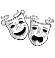 doodle drama masks vector image vector image