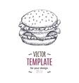 Vintage burger drawing Hand drawn vector image
