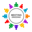 Colorful meeting ongoing icon vector image