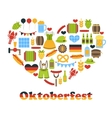 Heart made in Oktoberfest Colorful Symbols vector image
