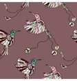 Pattern with couple colibri vector image