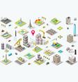 isometric city icon set vector image