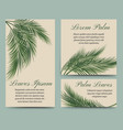 palm leaves retro cards set vector image