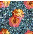 Stained glass style pattern with orange roses and vector image