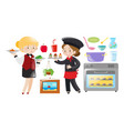 waitress and chef working in restaurant vector image