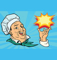 chef holding hand gesture vector image