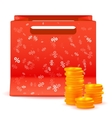 Red bag for shopping with coins vector image