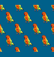 colorful parrot on indigo blue background vector image
