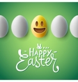 Happy Easter poster easter eggs with emoji face vector image