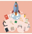 on space with rocket education design vector image