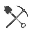 Shovel and pickaxe crossed Black on white flat vector image