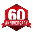 Sixty year anniversary badge with red ribbon vector image
