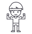 strong boy hands up line icon sign vector image