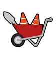 wheelbarrow construction with cones and shovel vector image