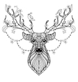 Zentangle Hand drawn magic horned Deer for adult vector image