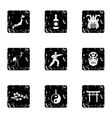 Attractions of Japan icons set grunge style vector image