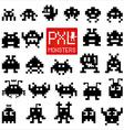 Set of cheerful pixel monsters vector image