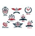 Darts heraldic sports emblems and symbols vector image