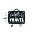 Hand drawn vintage suitcase with wheels and vector image