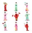 Japanese Geisha In Different Kimono Set vector image