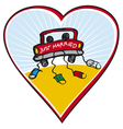just married on car driving vector image